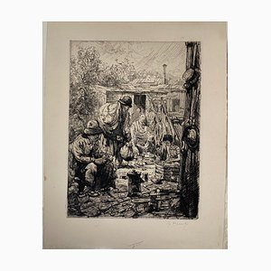 Auguste Brouet, Poors, Radierung, frühes 20. Jahrhundert