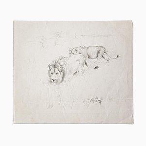 Wilhelm Lorenz, Chasse au Lion, Crayon Sur Papier, Moyen-20ème Siècle