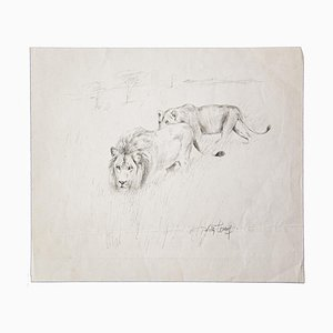 Wilhelm Lorenz, Lions Hunting, Pencil On Paper, Mid-20th Century