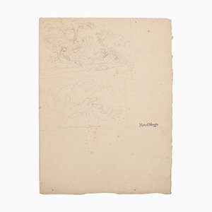 Marcel Mangin, Ruhender, Bleistift, Frühes 20. Jahrhundert