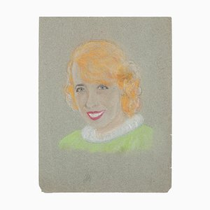 Manfredo Borsi, Portrait, Pastel, 20ème Siècle