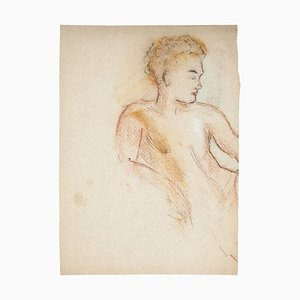 Manfredo Borsi, Portrait, Pastel and Pencil, 20th Century