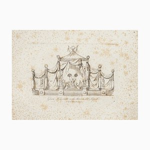 Nicola Carnevali, Project for the Throne, Etching, 19th Century