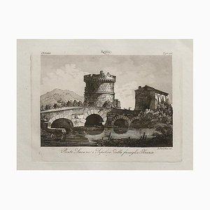 L.cavalieri, Ponte Lucano, Radierung, 19. Jahrhundert