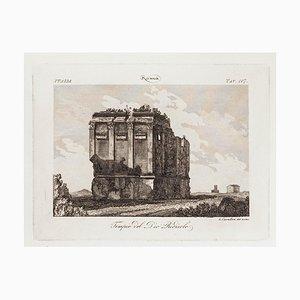 L.cavalieri, Lächerlicher Gott Tempel, Radierung, 19. Jahrhundert