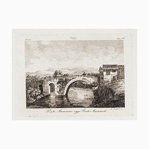 L.cavalieri, Ponte Mammolo, Etching, 19th Century