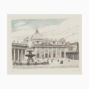 "Giuseppe Malandrino, St. Peter""s Square, Etching, 1960s"