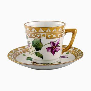 Coffee Cup With Saucer in Hand Painted Porcelain from Royal Copenhagen, Set of 2