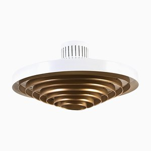Large Brass Louvered Diffuser Flush Mount by Lisa Johansson-pape for Orno