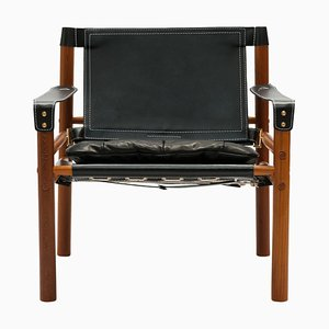 Black Leather Sirocco Easy Chair With Brass Buckles by Arne Norell