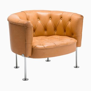 Natural Leather Tufted Club Chair by Robert & Trix Haussmann