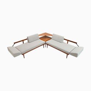 Sofá o sofá cama modelo FD451 con paneles de caña de Peter Hvidt & Orla Molgaard