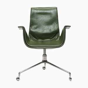 Green Leather Tulip Bird Desk Chair by Jorgen Kastholm & Preben Fabricius