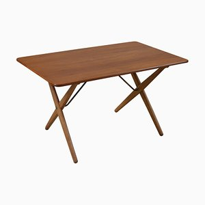 Table Modèle At 308 avec Stretchers en Laiton par Hans Wegner pour Andreas Tuck