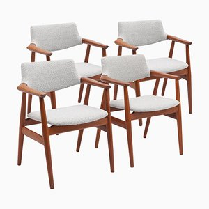 Teak Danish Armchairs in Bouclé Fabric by Svend Aage Eriksen, Set of 4
