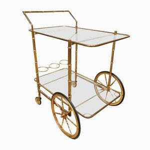 Chariot de Bar Vintage en Laiton et Bambou