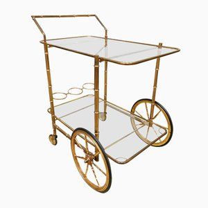 Vintage Brass Bamboo Bar Cart