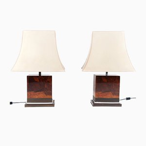 Lacquered Burl Wood Table Lamps by Jean Claude Mahey, France, 1970s, Set of 2