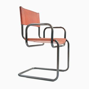 Vintage Leather and Tubular Steel Armchair, 1970s