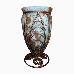 Antique Art Deco Blown Glass Vase, 1910s
