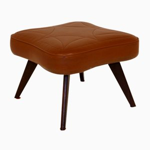 Swedish Wood and Leatherette Stool, 1960s