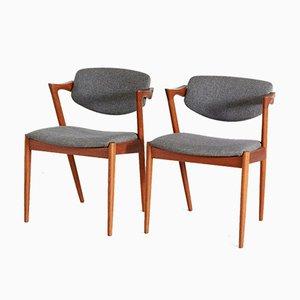 Dänische Mid-Century Esszimmerstühle, 1960er, 2er Set