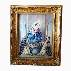 Marco vintage de madera con pintura religiosa, 1940