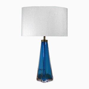 Blue Glass Table Lamp by Nils Landberg for Orrefors, 1960s