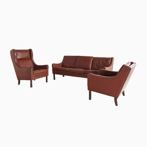 Brown Leather Sofa Set, 1960s, Set of 3