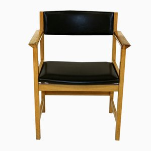 Oak and Leather Desk Chair, 1960s