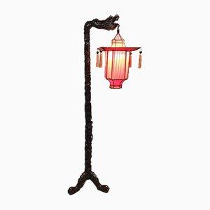 Antike Chinesische Drachen Stehlampe aus Palisander