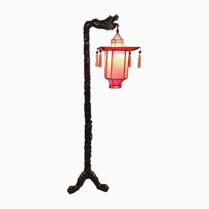Antique Rosewood Chinese Dragon Floor Lamp