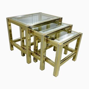 Brass and Glass Nesting Tables, 1970s, Set of 3