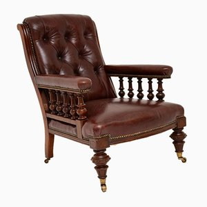 Antique Victorian Leather & Mahogany Armchair