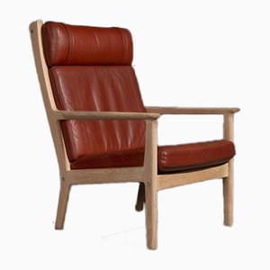 Model GE265 Red Brown Leather Armchair by Hans J. Wegner for Getama, 1970s