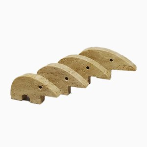 Travertine Anteater Sculptures designed by Enzo Mari for F.lli Mannelli, 1970s, Set of 4