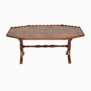 Antique Yew Wood Oyster Veneer Coffee Table, 1930s