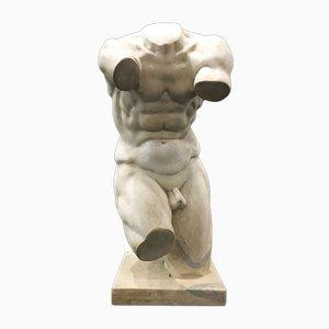 Escultura de un torso neoclásico de mármol blanco estatuario, principios del siglo XX