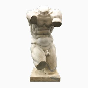 Sculpture of a Neoclassical Torso in White Statuary Marble, Early 20th Century