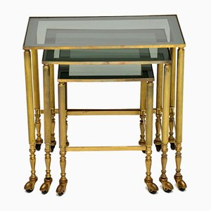 Vintage French Brass Nesting Tables, 1950s, Set of 3
