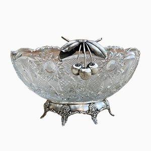 Antique Art Deco French Cut Glass Fruit Bowl