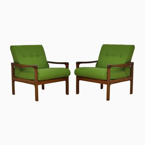 Teak and Wool Armchairs from Komfort, 1960s, Set of 2