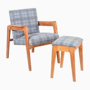 Mid-Century Lounge Chair & Ottoman, 1960s, Set of 2