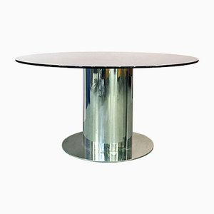 Italian Smoked Glass and Steel Table Cidonio by Antonia Astori for Driade, 1969