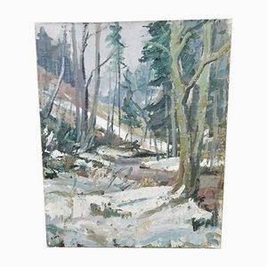 E. Heil, Landschaft aus verschneiten Bergen, Öl auf Holzplatte