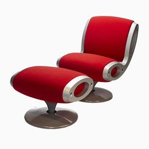 Roter Gluon Stuhl & Hocker von Marc Newson für Moroso Italy, 2er Set