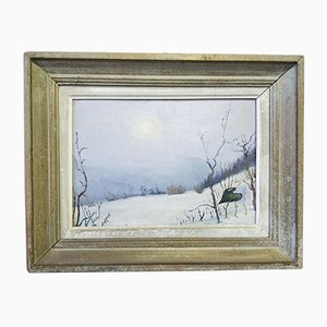 Oil on Panel, Winter Landscape