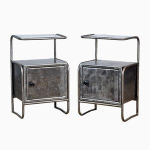 Comodini in ferro, anni '50, set di 2