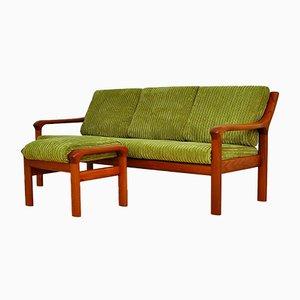 Teak Sofa und Fußhocker von EMC Furniture A / S, 1960er, 2er Set