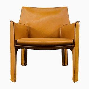 Italienischer Mid Century Cab 414 Stuhl aus Cognacfarbenem Leder von Mario Bellini für Cassina, 1970er